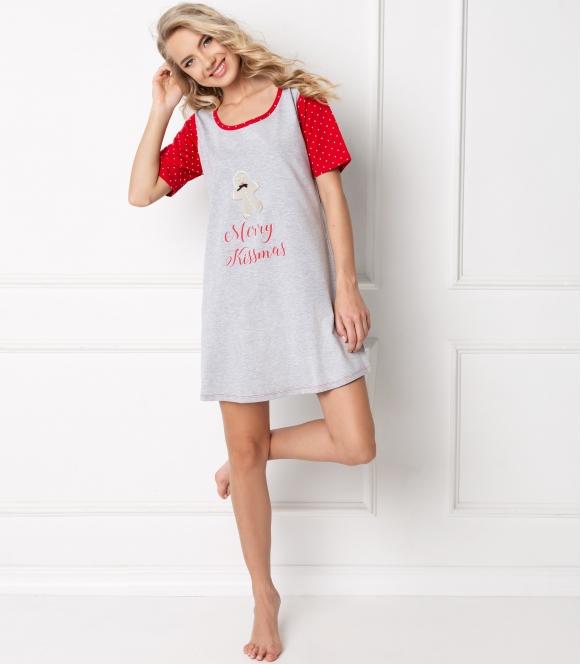 aruelle koszulka nocna świąteczna cookie grey