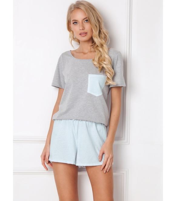aruelle jackie piżama szaro błękitna damska krótka koszulka krótki rękaw szorty z gumką w pasie
