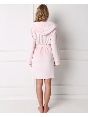 aruelle sparkly szlafrok jasno różowy damski z kapturem i kieszeniami wiązany w talii paskiem
