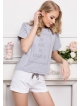 aruelle piżama krótka biaało szara damska model kingdom short dots & grey bawełniana