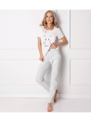 catwoman piżama damska 100% bawełna Aruelle dwuczęściowa koszulka biała z nadrukiem kota spodnie długie w prążki