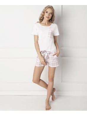 aruelle londie urocza piżama damska 100% bawełna dwuczęściowa koszulka biała spodenki krótkie w kratę