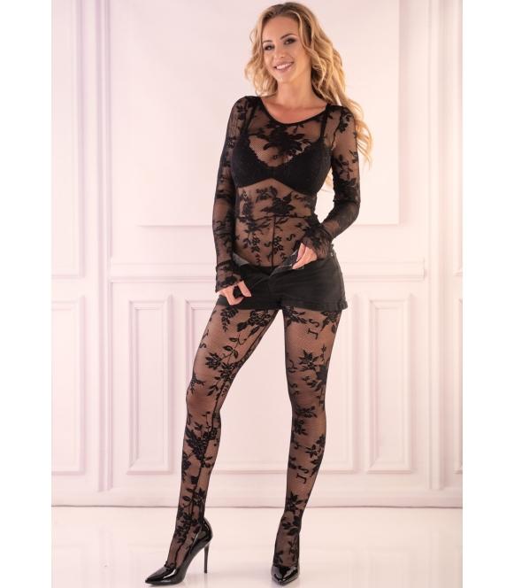 manelis seksowne bodystocking z prześwitującej siateczki czarne z kwiatowymi wzorami livco corsetti