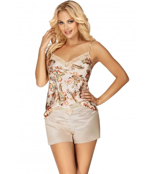 satynowa piżama z koronką kwiecista beżowa damska dwuczęściowa krótka donna paris