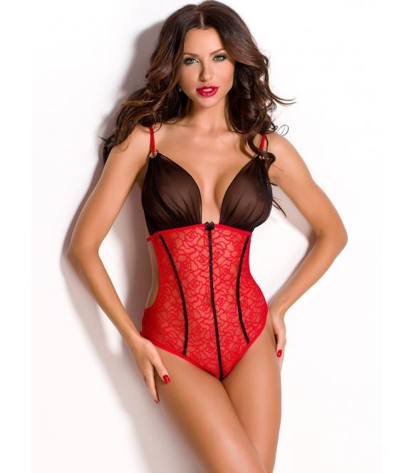 seksi czerwone body koronka z biustonoszem czarnym głęboki dekolt i zmysłowe paseczki anais divina