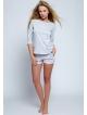 100 bawełna piżama damska krótka szara z rękawem 3/4 dwuczęściowa sensis sara