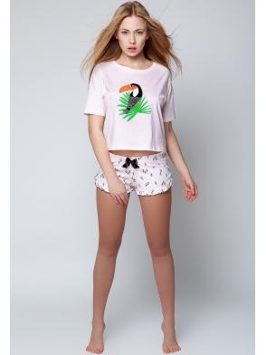piżama damska z tukanem grafiką na piersiach bielizna nocna krótka 100% bawełniana dwuczęściowa sensis tukan