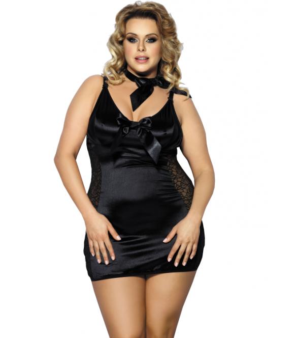 koszulka nocna plus size anais kernie czarna seksowna bielizna nocna w większych rozmiarach