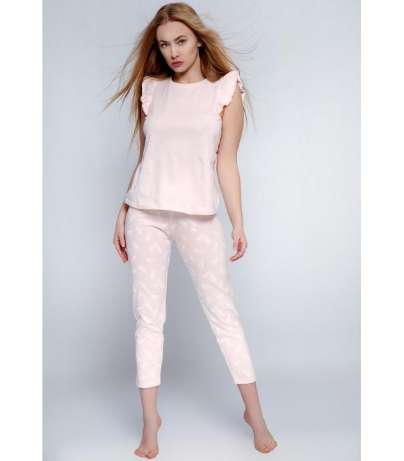 florencia piżama damska pudrowo różowa 100% bawełniana firmy sensis