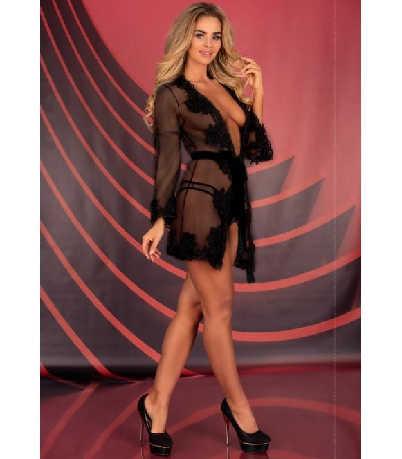 herina prześwitujący peniuar szlafrok z gipiurą czarny bardzo seksowny + stringi livco corsetti