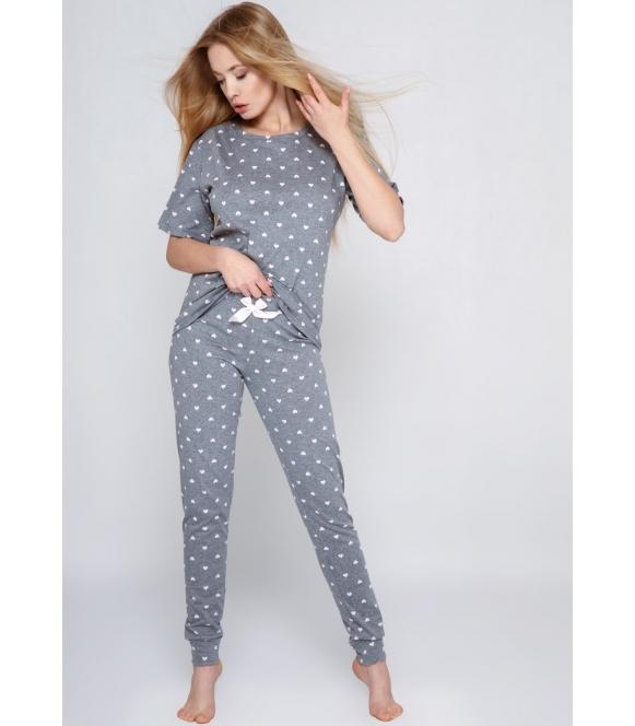 cristine piżama w serduszka 100% bawełniana damska szara z długimi spodniami zakończonymi ściągaczem firma sensis