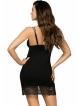 czarna koszulka nocna z koronką na dekolcie i udach podwójne regulowane ramiączka donna pamela