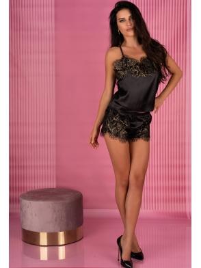 satynowy komplet bielizny piżama damska z piękną koronką satynowa czarna livco corsetti santh