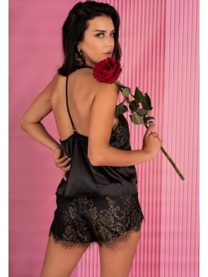 livco corsetti santh piżama komplet bielizny satynowej do spania czarny z koronką dwuczęściowy
