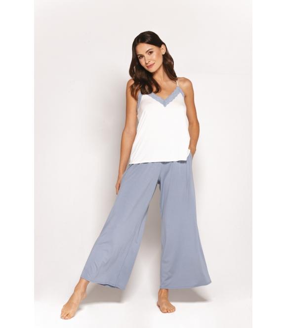 pandora piżama damska z poszerzanymi spodniami błękitna firmy babella