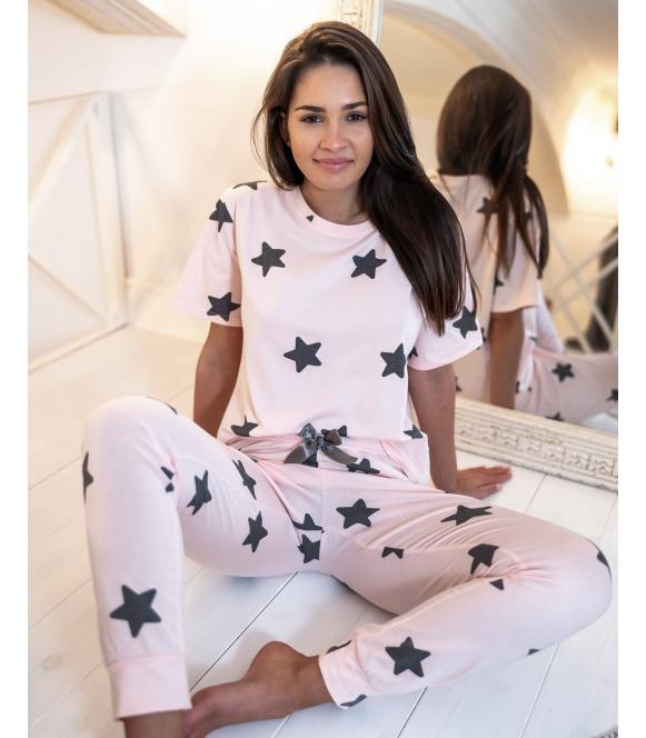 sensis piżama pastelowo różowa vera w gwiazdki