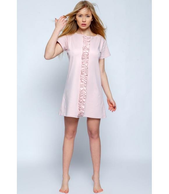 pudrowo różowa koszula nocna angel firmy sensis krótka bawełniana z falbankami