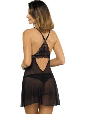 koszulka damska czarna z tiulu i eleganckiej koronki motyw kwiatowy prześwitująca tkanina regulowane ramiączka