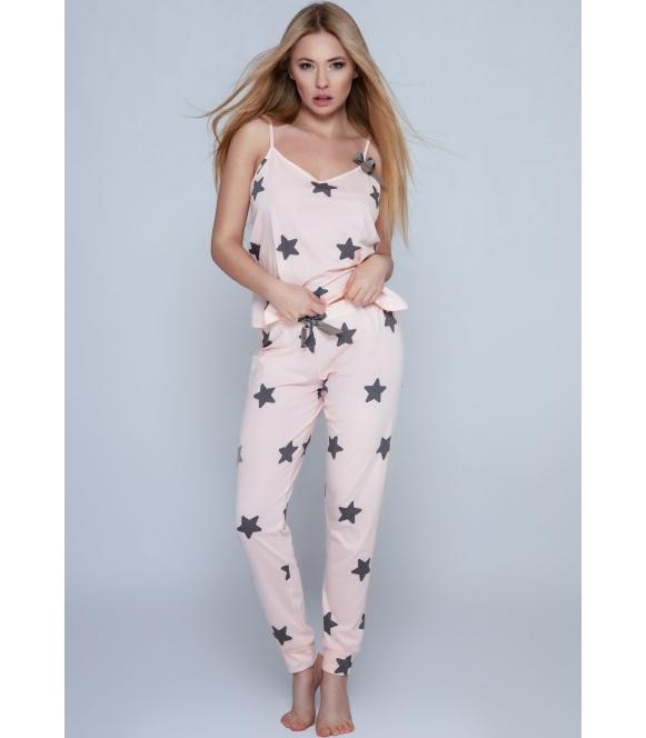 sensis piżama damska w gwiazdki bawełniana dwuczęściowa rafaela