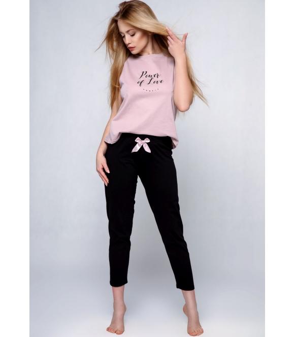 różowo czarna piżama damska bawełniana sensis power krótki rękaw spodnie długie z kokardą