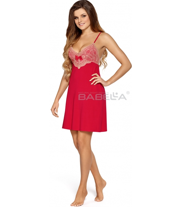 rubinowa koszula nocna damska długość przed kolana usztywnione miseczki zdobione haftem i kokardką ozdobnie wykończone plecy