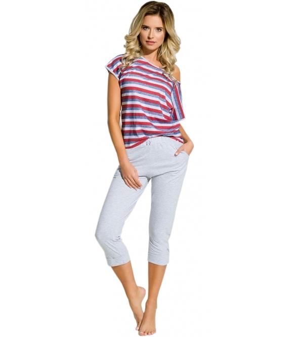 piżama damska krótki rękaw koszulka wzór w modne paski spodnie za kolano szare ozdobione kokardką