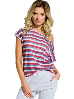 piżama nocna damska z koszulką w kolorowe paski spodenki typu rybaczki ozdobione kokardką