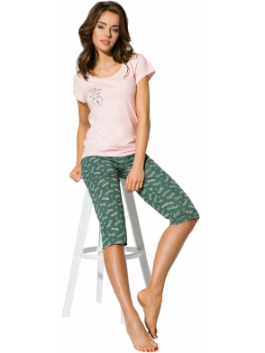 piżama damska do spania krótki rękaw z nadrukiem w kształcie serca spodnie za kolano z atrakcyjnym wzorem ewiola