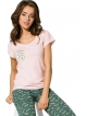 piżama damska bawełniana koszulka krótki rękaw z nadrukiem serca spodnie typu rybaczki z modnym motywem