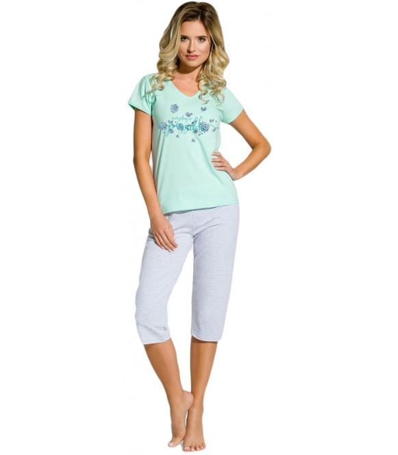piżama nocna damska z koszulką krótki rękaw kolorowy nadruk spodnie bez ściągacza typu rybaczki
