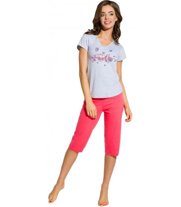bielizna nocna piżama damska z krótkim rękawem kolorowym modnym nadrukiem spodnie za kolano jednokolorowe