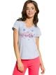 piżama do spania damska z krótkim rękawkiem nadruk kolorowy na koszulce spodnie jednokolorowe typu rybaczki