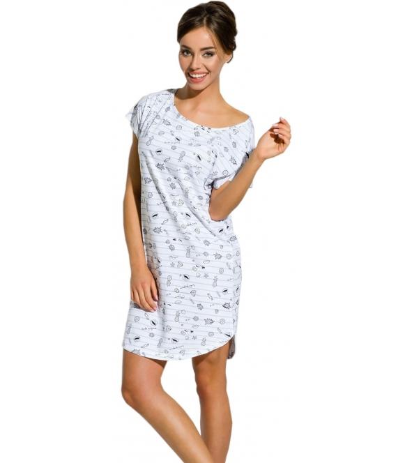 koszula damska nocna z krótkim rękawem długość przed kolana paseczki i modny nadruk