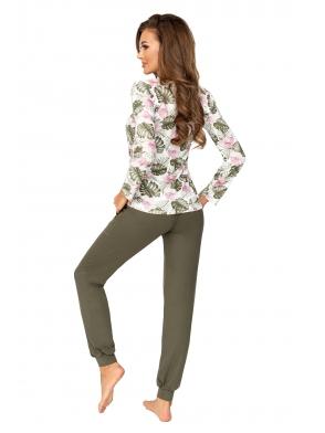 donna mila khaki piżama damska oliwkowa długi rękaw