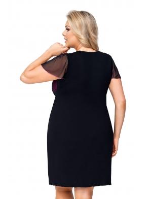 donna zoya koszulka nocna size plus czarna z koronkowymi miseczkami