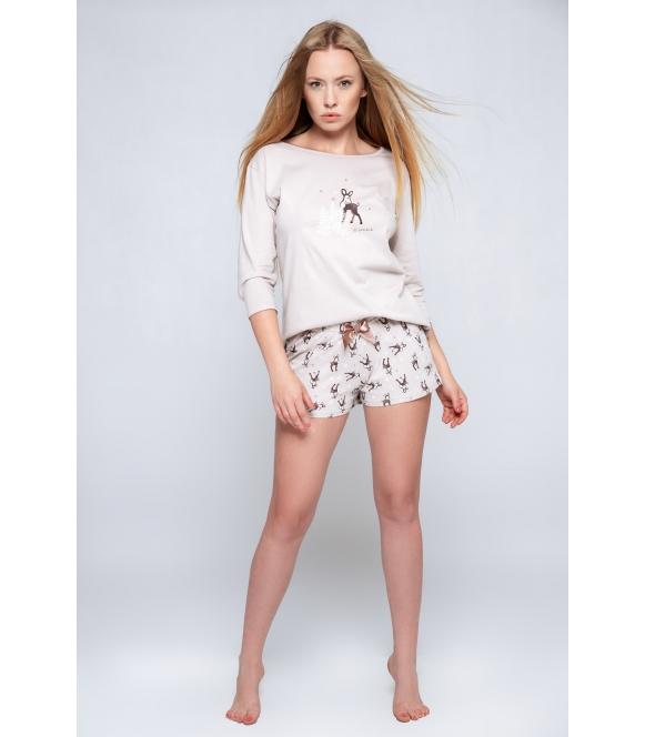 piżama sensis luminous nadruk sarenki na bluzce