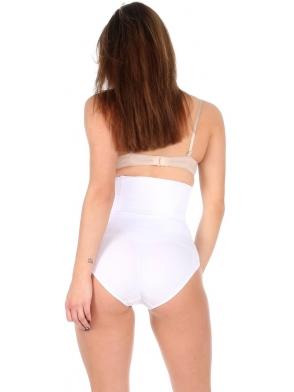 wysokie majtki wyszczuplające modelujące z czterema elastycznymi fiszbinami zapobiegającymi rolowaniu się majtek białe