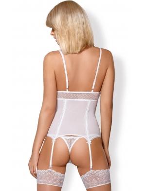 pełen seksapilu komplet bielizny damskiej obsessive 843-cor biały gorset damski i stringi