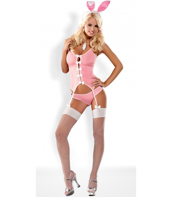 cztero częściowy komplet bielizny damskiej kostium różowego króliczka gorset uszy królika majtki z ogonkiem i białe pończochy