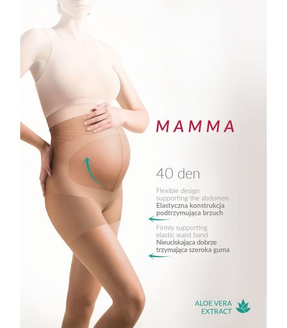 mamma rajstopy ciążowe 40 den z panelem na brzuch i częścią majteczkową gabriella