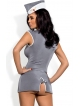 kostium damski przebranie stewardesy komplet sukienka eksponująca piersi stringi oraz czapka lotnika