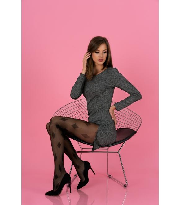 linanam rajstopy damskie 3d ze wzorem czarne 30 den livco corsetti