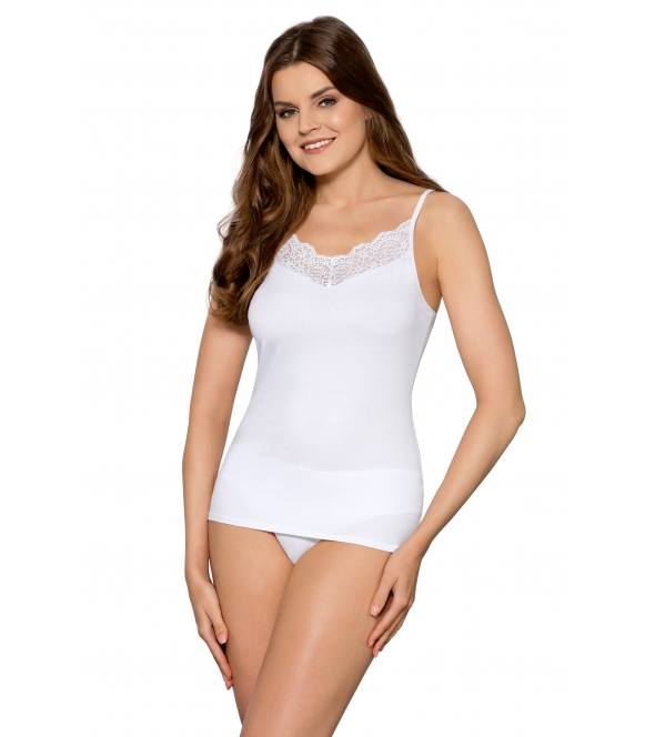 babell apollina delikatna biała koszulka damska z koronkowym dekoltem