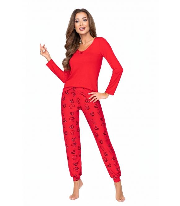 czerwona piżama damska z wiskozy długa donna mika red
