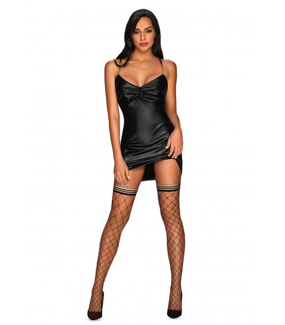 yollanda sukienka damska ze skrzyżowanymi regulowanymi ramiączkami na plecach czarna obsessive
