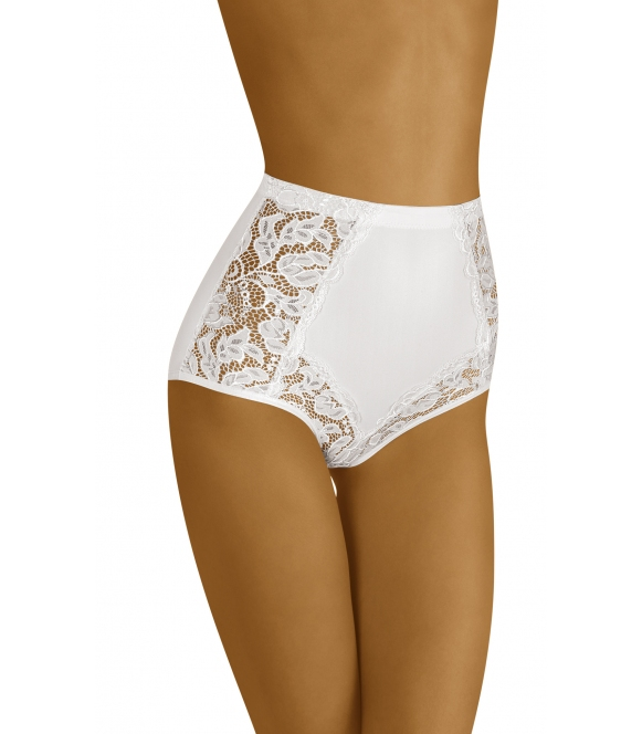 modelujące talię i biodra figi majtki damskie z koronkowymi wstawkami i wyższym stanem wol-bar eleganta białe