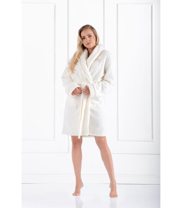 glamour ciepły szlafrok damski wiązany w talii z dwoma kieszeniami po bokach momenti per me