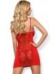 czerwony komplet bielizny koronkowej koszulka nocna damska z cyrkoniową ozdobą i stringi obsessive heartina
