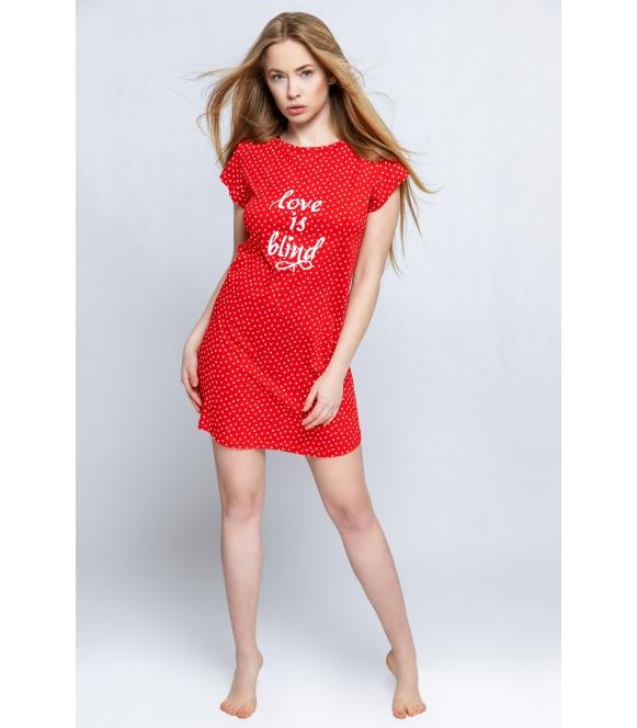 love is blind koszulka nocna czerwona w serduszka firmy sensis