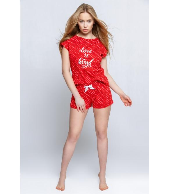 piżama damska czerwona w serduszka sensis love is blind dwuczęściowa krótka